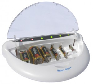 Battery Wizard recharges Rechargeable and Non-Rechargeable Batteries