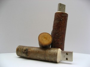 USB Flash Memory made from Wooden Sticks