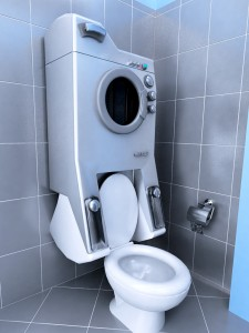 Combined Washing Machine and Toilet