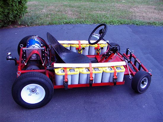 an engineer read big kid has built an impressive go kart that uses 6 optima d34 12v 55ah batteries that allows the kart to reach speeds of up to 60 mph