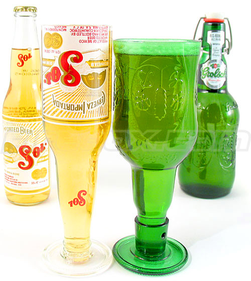 Beer bottle goblets drinking vessels made from old beer for Making glasses from bottles
