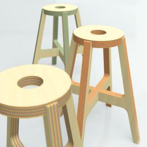 Paper-Wood Stool