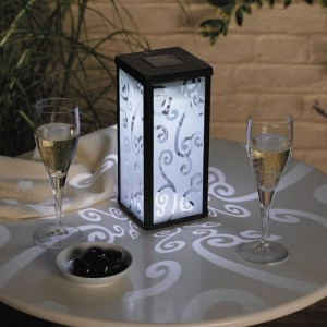 Frosted Scroll Solar-Powered Lantern