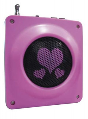 Pink Wind-Up Radio and Cell Phone Charger With Hearts Design