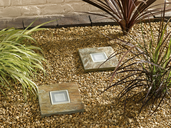 Solar powered slate step lights envirogadget for Solar powered glow stepping stones