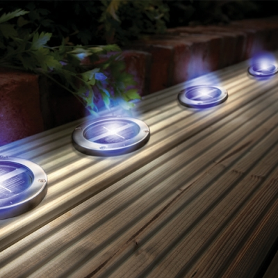 Solar powered stainless steel blue deck lights envirogadget solar powered stainless steel blue deck lights aloadofball Image collections