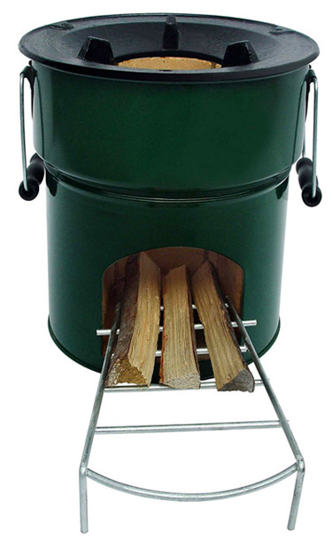 Wood rocket stove by stovetec envirogadget for Wood burning rocket stove