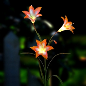 Solar powered flower lights