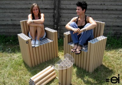 FanTubes - Cardboard Tube Chairs and Table